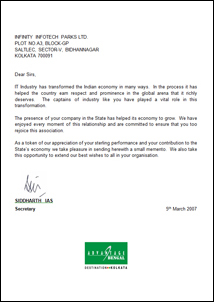 Signature estates letter of appreciation letter from mr siddharth ias secretary to infinity infotech parks limited on 5th march 2007 spiritdancerdesigns Images